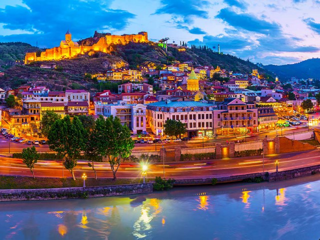 City of Tbilisi at dusk