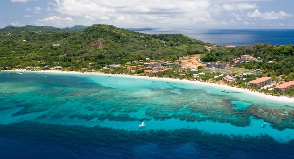 Roatan beach from the air